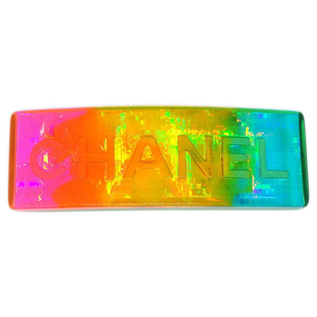 CHANEL Hair Clip Barrette Rainbow Plastic 97P