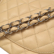 CHANEL Classic Double Flap Medium Shoulder Bag Beige Caviar Skin