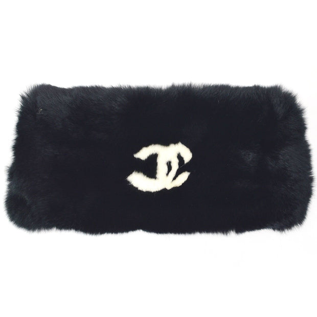 CHANEL Lapin Rabbit Fur Bracelet Wristband Black