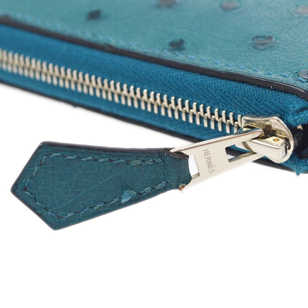 HERMES Azap Zipped Long Wallet Cobalt Ostrich
