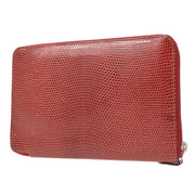 HERMES Azap GM Zipped Wallet Red Lizard