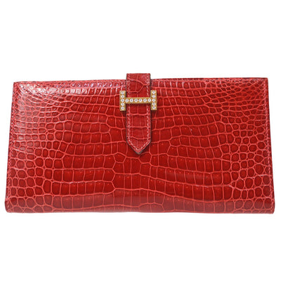 HERMES Rhinestone H Logos Bearn Long Wallet Red Crocodile Porosus