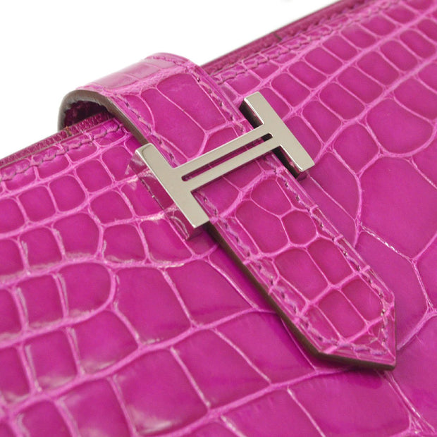 HERMES H Logos Bearn Soufflet Wallet Rose Scheherazade Alligator Crocodile