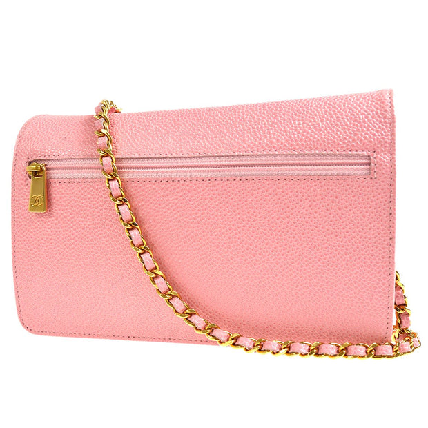 CHANEL CC Chain Shoulder Wallet Bag WOC Purse Pink Caviar Skin