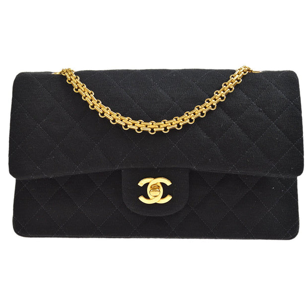 CHANEL Classic Double Flap Medium Chain Shoulder Bag Black Cotton