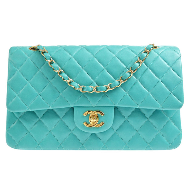 CHANEL Classic Double Flap Medium Chain Shoulder Bag Emerald Green
