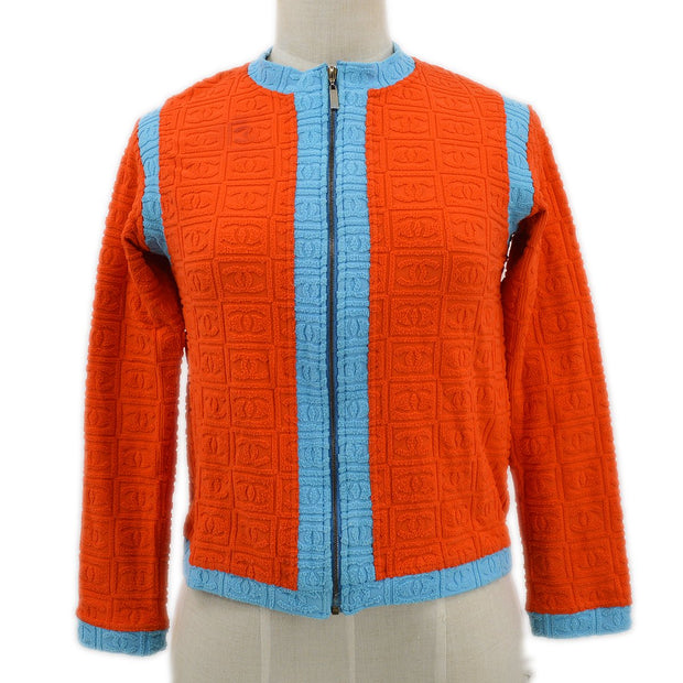 CHANEL Jacket Light Blue Orange #40 02S