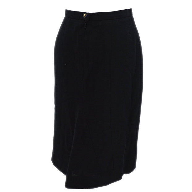 CHANEL 95A #40 Knee Length Skirt Black