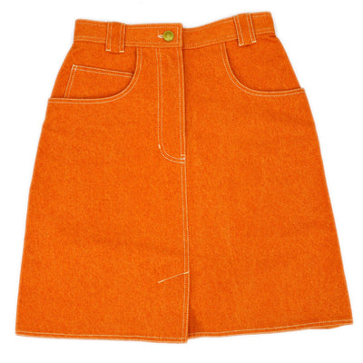 CHANEL 02789 #34 Knee Length Skirt Orange