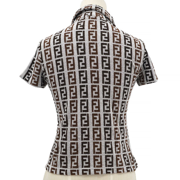FENDI Zucca Pattern Short Sleeve Tops Gray #40
