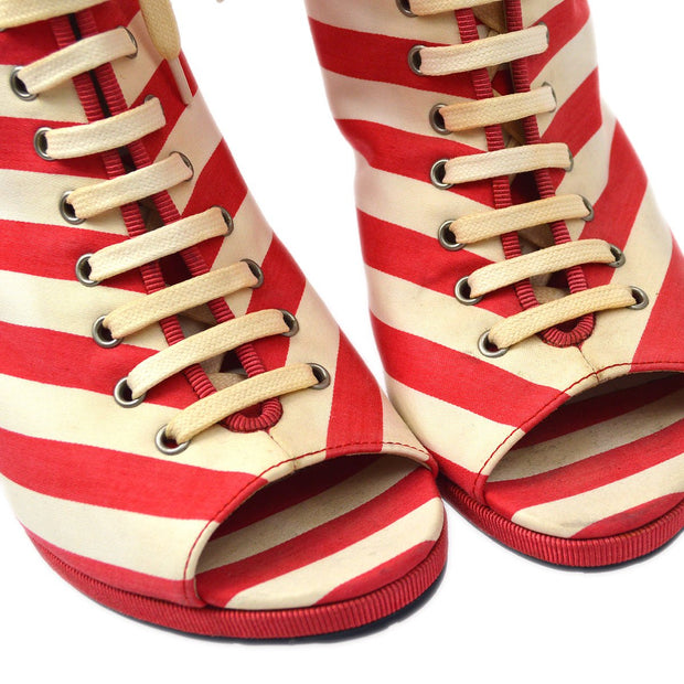 CHANEL Striped Open Toe Boots Shoes White Red #38 1/2