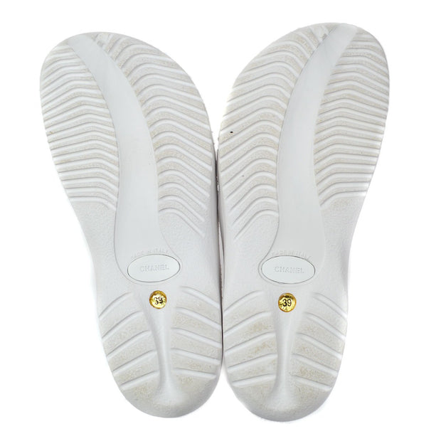 CHANEL Sports line Sandals Shoes White Rubber #39
