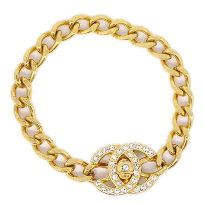CHANEL Turnlock Rhinestone Gold Bracelet 96A