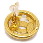 CHANEL Button Earrings Gold Clip-On 98P