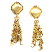 CHANEL Fringe Shaking Earrings Clip-On Gold 2371