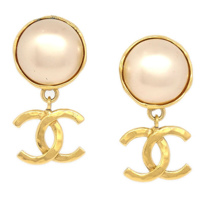 CHANEL Imitation Pearl Shaking Earrings Clip-On Gold White 95P