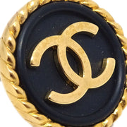 CHANEL Button Earrings Gold Black Clip-On 97P