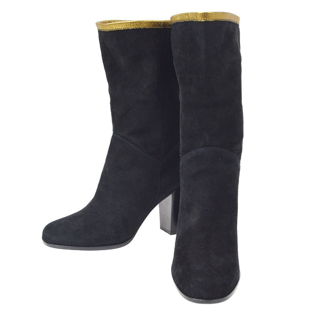 CHANEL Middle Boots Shoes Black Suede #36 1/2 C