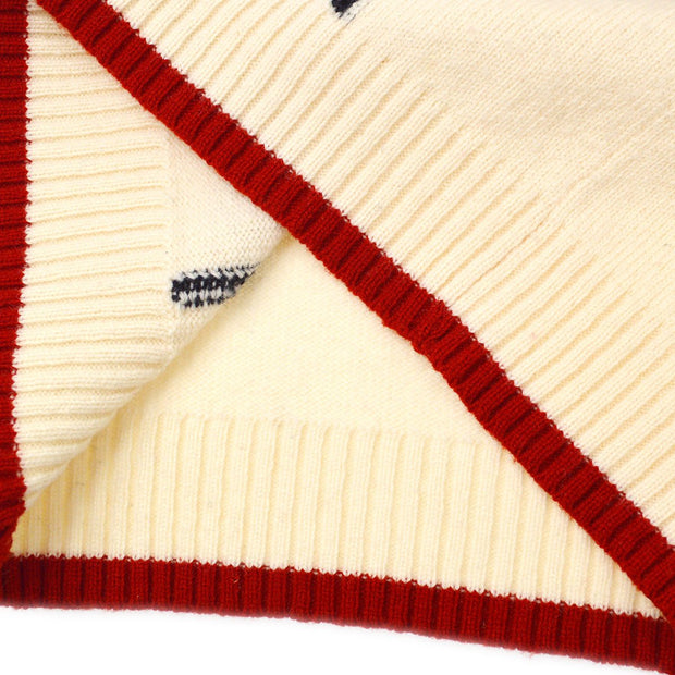 CHANEL 07A #36 Penguin Knit Sweater Ivory Red