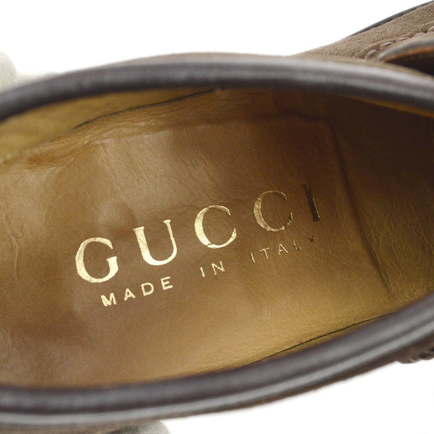 GUCCI Horsebit Shoes Loafers Brown Suede #5 D