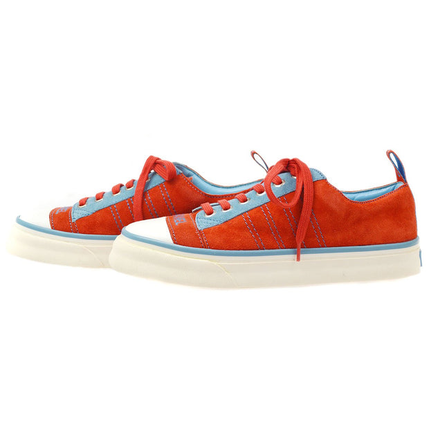 CHANEL Sports Line Sneakers Shoes Red Light Blue Suede #36