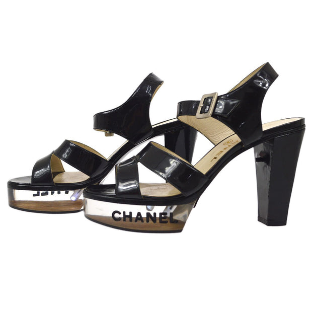 CHANEL LED Sandals Shoes #36 Patent Leather Black