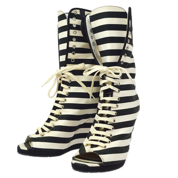 CHANEL Striped Open Toe Boots Shoes White Black #37 1/2 C