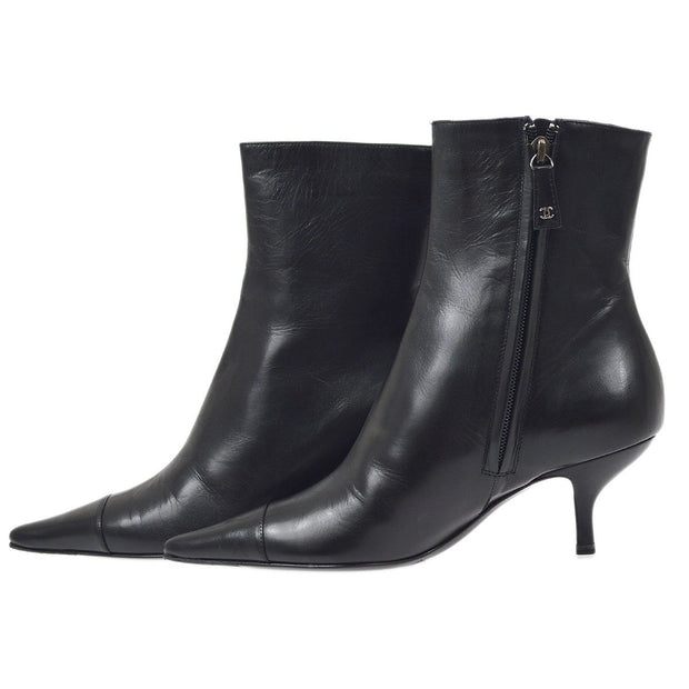 CHANEL Short Boots Shoes Black #35 C