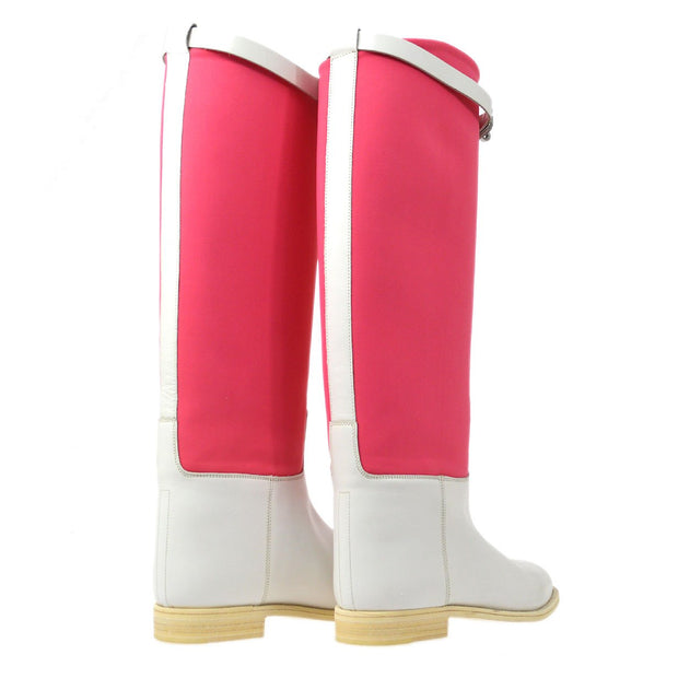 HERMES Kelly Jumping Shoes Long Boots Shoes Pink White #36 1/2