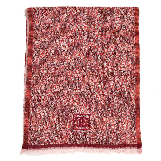 CHANEL Sport Line Fringe Scarf Stall Red Small Good