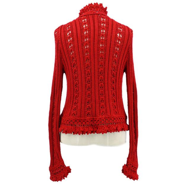 CHANEL Lace Cardigan Red #42