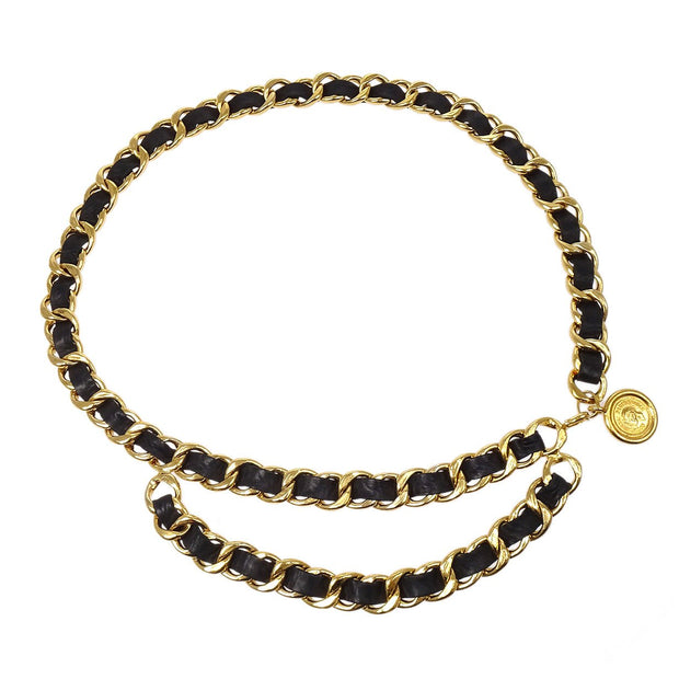 CHANEL Medallion Gold-tone Chain Belt 27