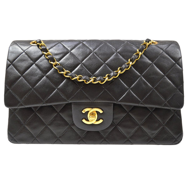 CHANEL Classic Double Flap Medium Chain Shoulder Bag Black