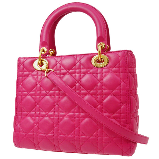 Christian Dior Lady Dior Cannage 2way Hand Shoulder Bag Pink