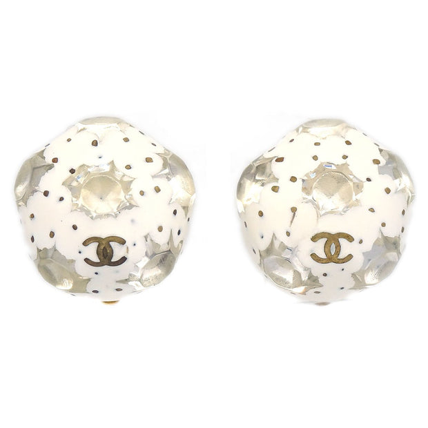 CHANEL Button Shell Gripoix Stone Earrings Gold Clip-On 98P