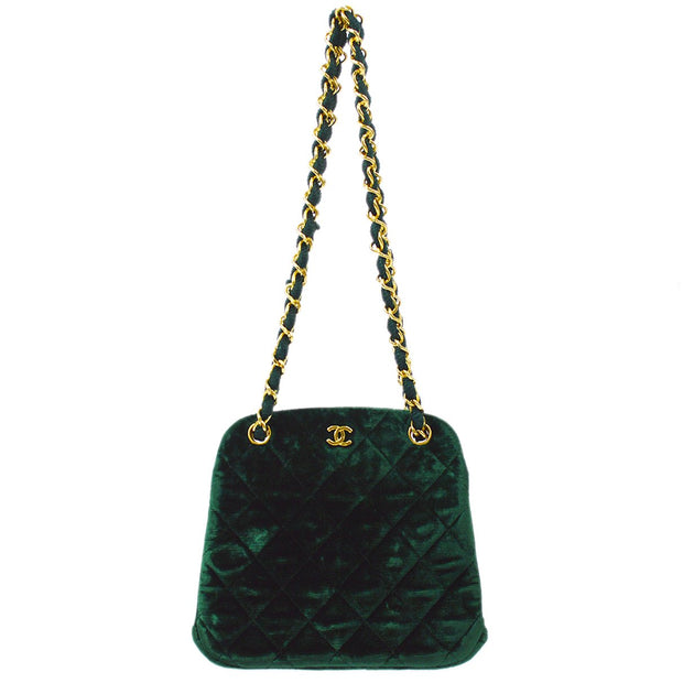 CHANEL Double Chain Mini Shoulder Bag Green Velvet