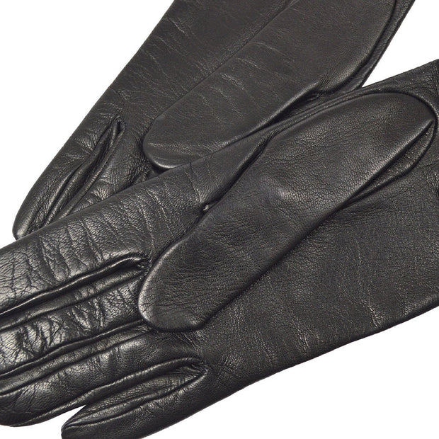 HERMES Kelly Constance Charm Gloves Leather Black #7