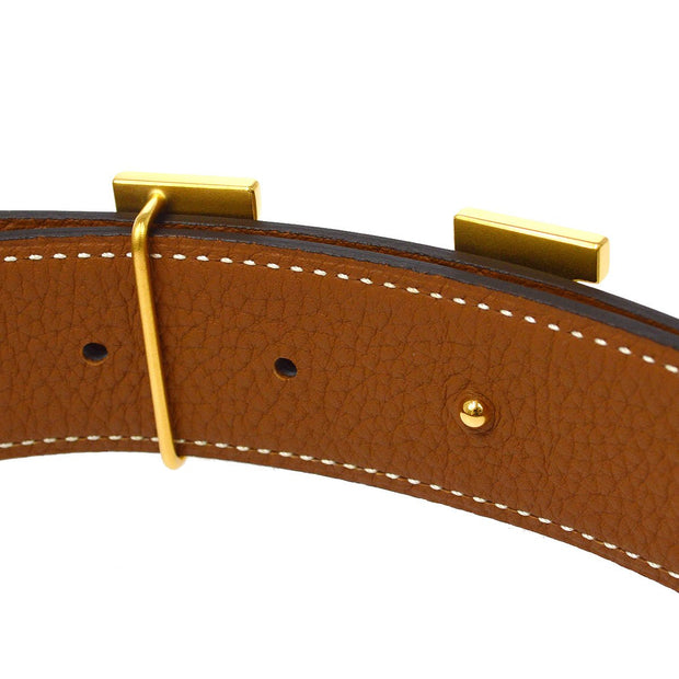 HERMES H Buckle Constance Reversible Belt #85 Box Calf Traurillon Clemence Small Good