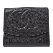CHANEL Bifold Wallet Caviar Skin Black