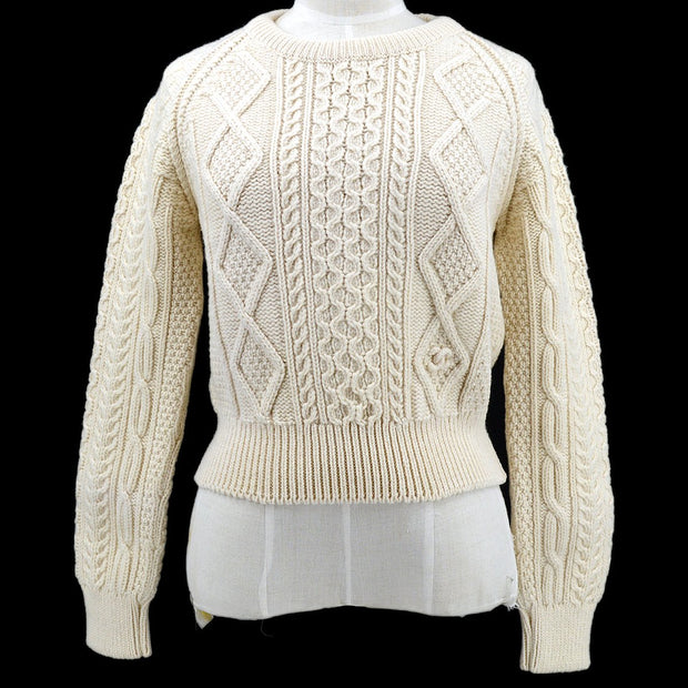 CHANEL 96A #42 Knit Tops Ivory Wool