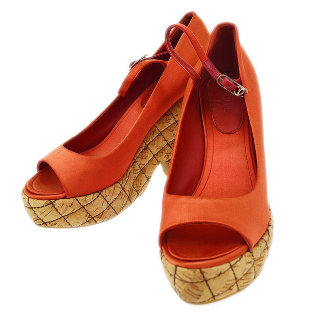 CHANEL Wedge Sole Sandals Shoes Red