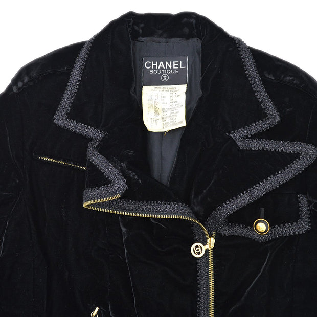 CHANEL 93A #38 Zip-up Jacket Black