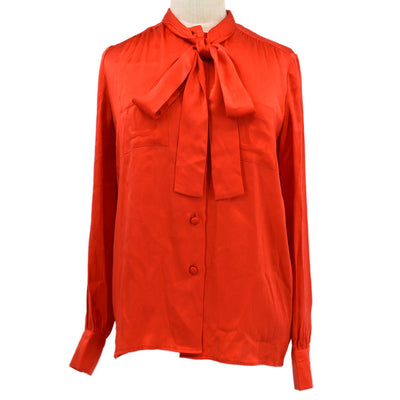CHANEL Bow Charm Tops Shirt Red