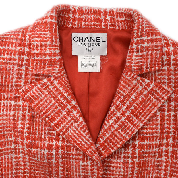 CHANEL 97P #42 Single Breasted Jacket Tweed Red
