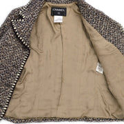 CHANEL 01A #42 Single Breasted Jacket Tweed Brown