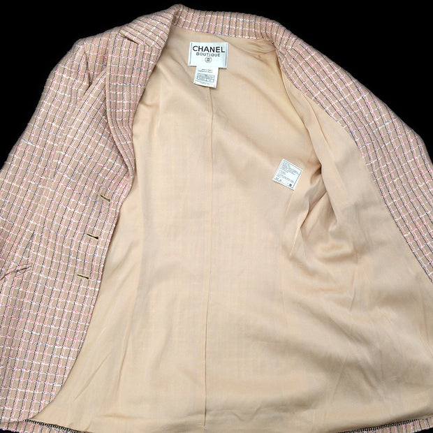 CHANEL 98P #40 Single Breasted Jacket Tweed Pink