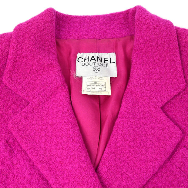 CHANEL 95A #42 Double Breasted Tweed Jacket Pink