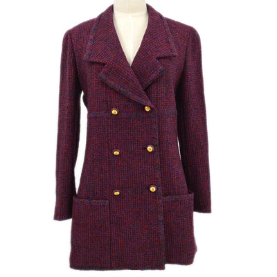 CHANEL 93A #38 Double Breasted Jacket Tweed Bordeaux