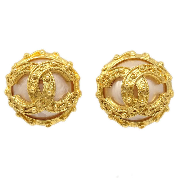 CHANEL Imitation Pearl Button Earrings Clip-On 94A