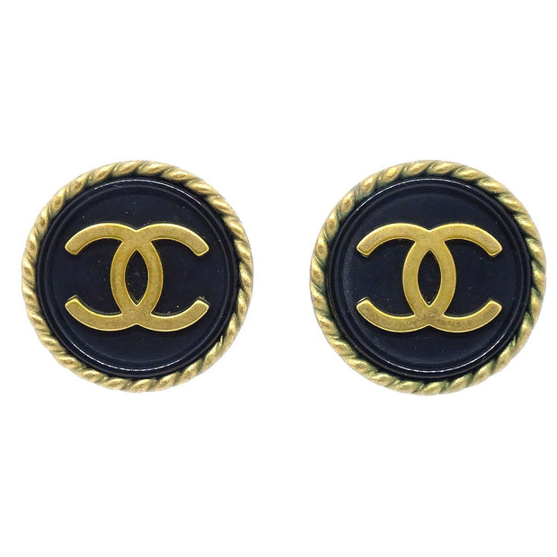 CHANEL Button Earrings Black Gold Clip-On 94A